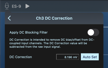 DC Correction Menu Screenshot